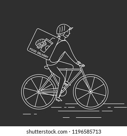 Courier on bicycledelivering food.