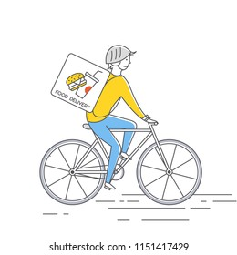 Courier on bicycledelivering food. Vector thin line illustration.