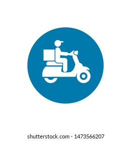 Courier on a motor scooter black icon, vector sign on isolated background. Courier on a motor scooter concept symbol, illustration