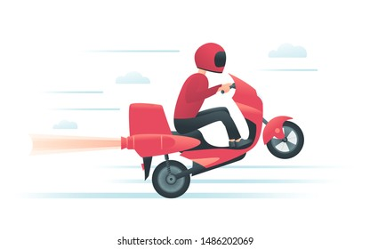 Courier on the red motorbike with jet rocket engine. Delivery service or motorcycle racing concept. Biker rides scooter on the rear wheel. Vector illustration