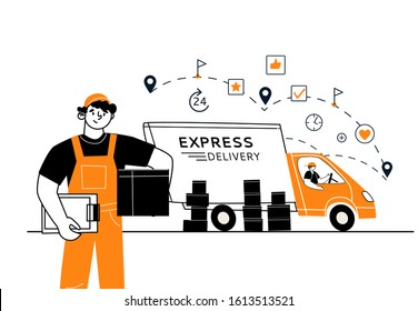 A courier with a parcel in hand, a vector character in the foreground. In the background, a delivery truck with boxes. The concept of fast delivery.