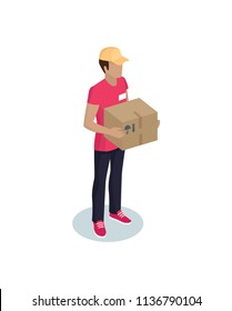Courier profession representative isometric icon. Vector errand-boy workman from delivery service holding package or order box in hands isolated.