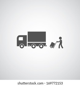 courier services symbol on gray background