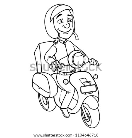 Courier Using Motorcycle Coloring Book Cartoon Stock Vector (Royalty ...