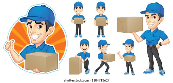 Courier Young Man Character Set with 6 Poses Vector Illustration EPS 10