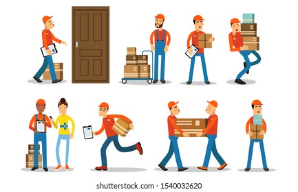 Couriers Of Different Ages And Races Deliver Goods And Parcels To Customers Vector Illustration Set Isolated On White Background