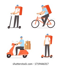 Couriers on scooter, moped, bicycle, delivers the packages, parcels or food. Men characters, workers of fast delivery service. Banner web template design. Cartoon vector illustration