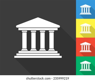 court building icon - gray and colored (blue, yellow, red, green) vector illustration with long shadow
