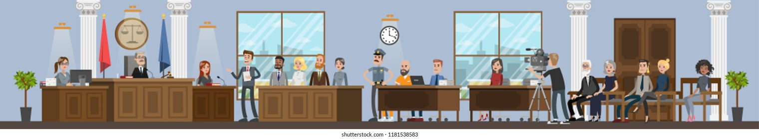 Court building interior with courtroom. Trial process with judge, jury and suspect. Lawyer or attorney giving a speech. Vector flat illustration
