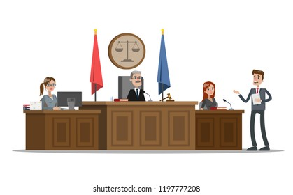 Court building interior with courtroom. Trial process. Lawyer or attorney giving a speech to a judge and witness. Vector flat illustration
