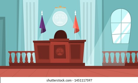 Court building interior with empty courtroom. Trial process. Idea of law and judgment. Vector illustration in cartoon style