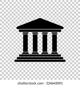 court building vector icon - black illustration