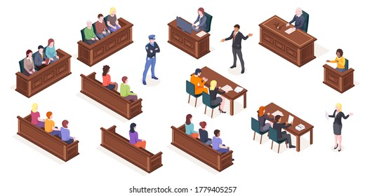 Court hearing and courtroom, vector isolated isometric icons of judge and justice jury at trial process. Judge, prosecutor and advocate lawyer with accused at court hearing, courthouse justice lawsuit
