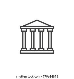 Court house line icon, outline vector sign, linear style pictogram isolated on white. Historical building symbol, logo illustration. Editable stroke