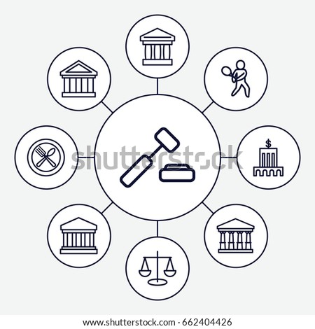 court icons set set 9 court stock vector royalty free 662404426 2003 Hummer On 28 court icons set set of 9 court outline icons such as spoon and fork tennis playing bank auction hummer vector