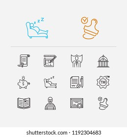 Court icons set. Crime and court icons with law, trademark and stamp. Set of drawing for web app logo UI design.