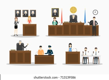 Court illustrations set. Lawyers and witnesses, judje and police on white background.