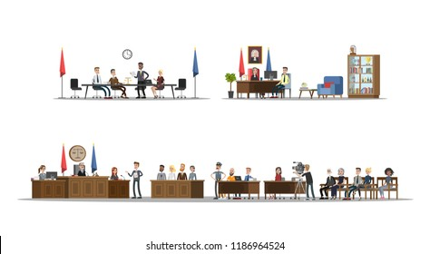 Court interior with courtroom and offices set. Trial process with judge, jury and suspect. Vector flat illustration