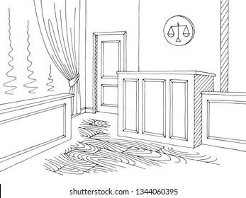 Court interior graphic black white sketch illustration vector