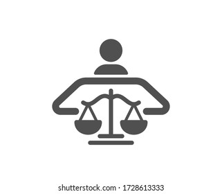 Court judge icon. Justice scale sign. Judgement law symbol. Classic flat style. Quality design element. Simple court judge icon. Vector