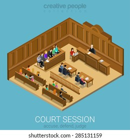 Court jury session room concept flat 3d web isometric infographic vector. People in auditory listening to lecture teacher. Creative people collection.