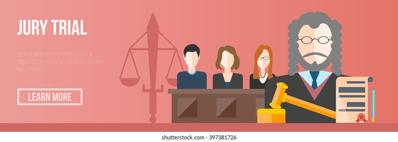 court and jury trial vector banner illustration