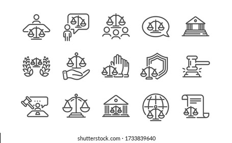 Court line icons set. Judge, Scales of Justice and Lawyer. Hammer, Law and Petition document set icons. Judgment, justice, court injunction. Gavel judge hammer, rulings, presiding officer. Vector