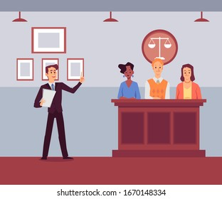 Court room with cartoon attorney man giving speech to jury stand. Flat banner with people at justice trial listening to evidence or prosecution - vector illustration.
