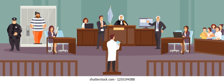 Court session in the courtroom. Judge, Prosecutor, lawyer, criminal, jury policeman Vector illustration