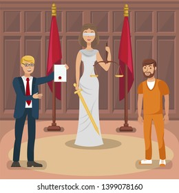 Court Trial, Legal Case Flat Vector Illustration. Themis, Attorney and Happy Convict Cartoon Characters. Cheerful Advocate Holding Acquittal, Justification Sentence. Judicial System, Litigation