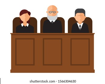 Court trial vector illustration. Courtroom interior with judges and lawyer. Law and criminal, crime and justice in courthouse concept.