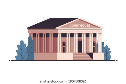 courthouse building exterior legal law advice justice concept horizontal isolated vector illustration