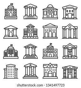 Courthouse icons set. Outline set of courthouse vector icons for web design isolated on white background