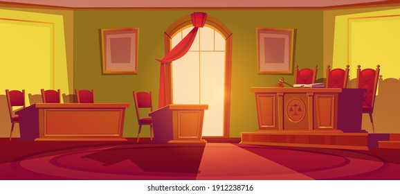 Courtroom empty interior with wooden desk with scales and wood gavel, chairs, arch window with red curtain and places for judge, defendant and plaintiff. Trial court room, Cartoon vector illustration