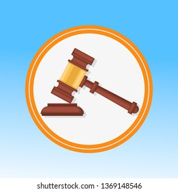 Courtroom Gavel Closeup Flat Vector Illustration. Wooden Hammer, Litigation Process Symbol in Round Frame. Judge, Magistrate Ceremonial Mallet. Reaching Verdict, Sentence, Punishment