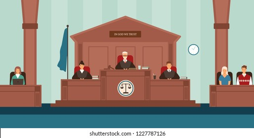 Courtroom with panel of judges sitting behind desk or bench, secretary, witnesses. Court or tribunal resolving dispute. Trial or legal proceeding. Colorful vector illustration in flat cartoon style.