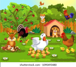 courtyard with farm animals and their babies