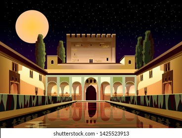 Courtyard of the Myrtles in La Alhambra Palace by night. Granada, Spain. Handmade drawing vector illustration. Retro travel poster.