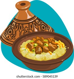 Couscous in tagine. Oriental cuisine. Clay pot with cover. Isolated. On aquamarine background.