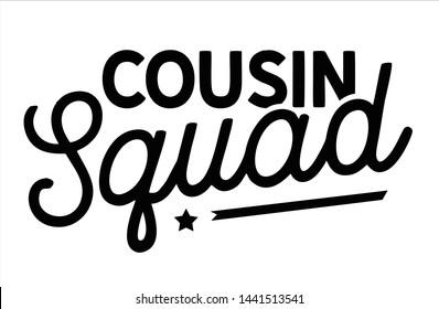 Cousin squad lettering font script vector  templete
