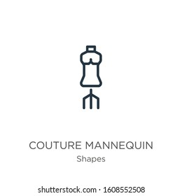 Couture mannequin icon. Thin linear couture mannequin outline icon isolated on white background from shapes collection. Line vector sign, symbol for web and mobile