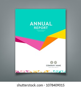 Cover Annual report abstract triangle paper design background, vector illustration