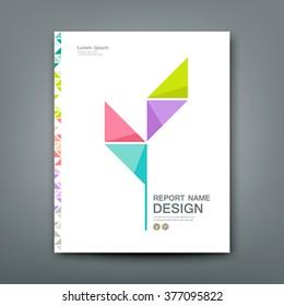 Cover Annual report colorful tree origami paper concept design, vector illustration