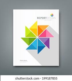Cover Annual report, colorful windmill origami paper design, vector illustration