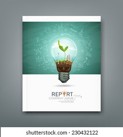 Cover annual report green seedlings in a light bulb ecology concept design, sketching science background, vector illustration