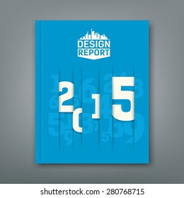 Cover Annual Report numbers 2015, design on blue background, vector illustration