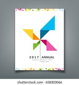 Cover Annual report, turbine origami paper design, vector illustration