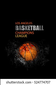 Cover for basketball. Geometric, polygon background. Design banner template for basketball. EPS file is layered.