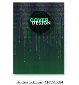 Cover with binary computer code with floating digits. Cyberspace with code of matrix. Concept of security, programming and hacking actions, decryption and encryption.