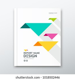 Cover book Annual report, colorful bird origami paper on white design background, vector illustration